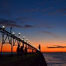 Strolling the Pier in Grand Haven by Debbie  Maglothin
