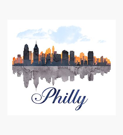Philadelphia Skyline, Pennsylvania, Watercolor Photographic Print