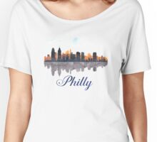 Philadelphia Skyline, Pennsylvania, Watercolor Women's Relaxed Fit T-Shirt