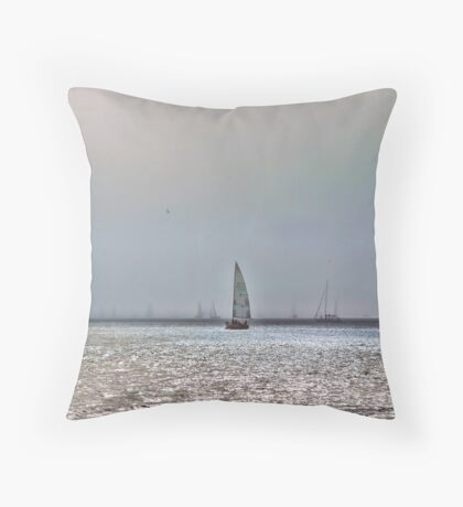Sailing in Fog Throw Pillow