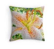 Bright Orange Lily Flower Floral art prints Baslee Troutman Throw Pillow