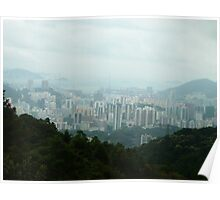 Valley City Surrounded by Jungle Mountains Poster