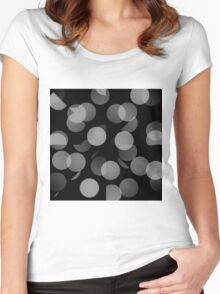 Black and White Dots Women's Fitted Scoop T-Shirt
