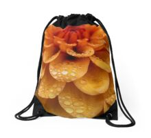 Dahlia Orange Flame Petals Drawstring Bag