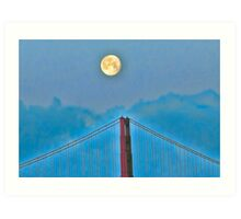 Moon over golden gate Art Print