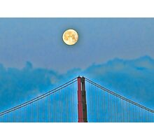 Moon over golden gate Photographic Print