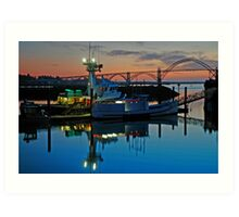 Sundown At Yaquina Bay Art Print