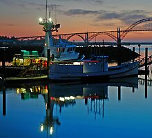 Sundown At Yaquina Bay by Nick Boren
