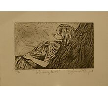 Sleeping Girl- Intaglio Print Photographic Print