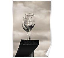a pair of wine glasses at Nashoba valley  Poster
