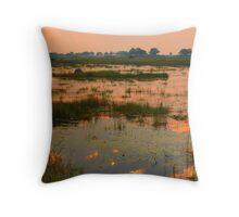 sunset in the Okavango Delta Throw Pillow