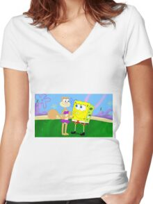 Spandy SpongeBob x Sandy Cheeks Women's Fitted V-Neck T-Shirt