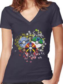 Kingdom Hearts Pokeball Women's Fitted V-Neck T-Shirt
