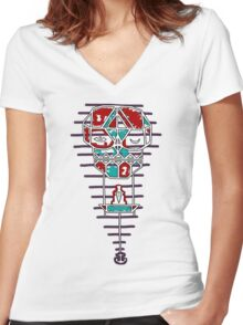 Sleep With One Eye Open Clock Women's Fitted V-Neck T-Shirt