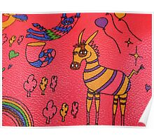 Striped Creatures on Red Leather Poster
