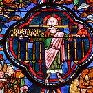 Stained glass, Bourges Cathedral: Christ of the Apocalypse by physiognomic
