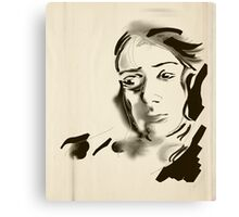 Digital Artistic Ink Woman Black & White Canvas Print