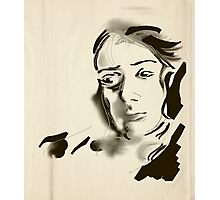 Digital Artistic Ink Woman Black & White Photographic Print
