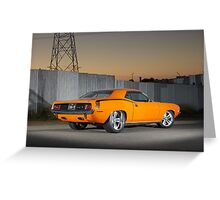 Orange 1970 Plymouth Barracuda Greeting Card