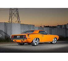 Orange 1970 Plymouth Barracuda Photographic Print