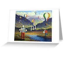 Soft Musicians in irish landscape with musical notes Greeting Card