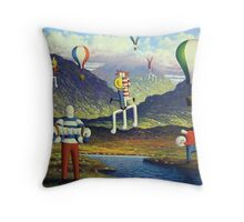Soft Musicians in irish landscape with musical notes Throw Pillow