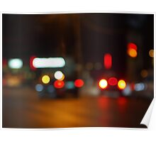 Defocused red and yellow lights on the night the traffic Poster