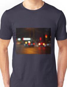 Defocused red and yellow lights on the night the traffic Unisex T-Shirt