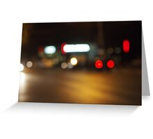Abstract defocused red and yellow lights Greeting Card