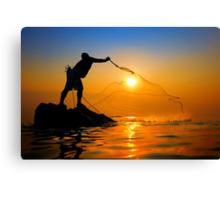 Fisherman catch the sun Canvas Print