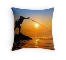Fisherman catch the sun Throw Pillow