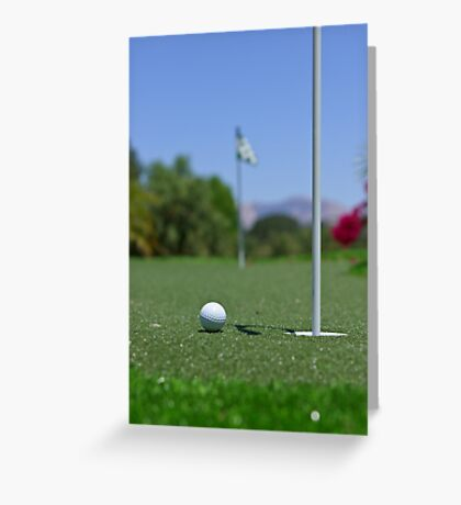 Golf ball on Green Greeting Card