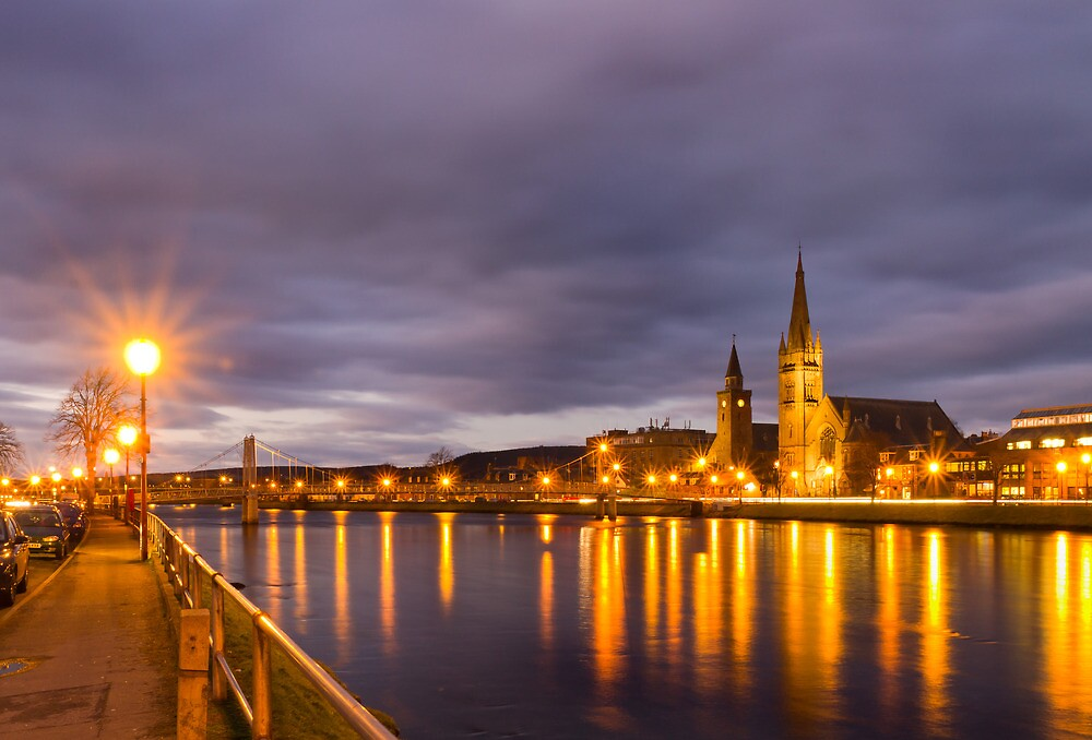 Church and Bridge Reflections on the River Ness by Bill Buchan
