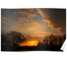 March Sunset over the River Tees Poster