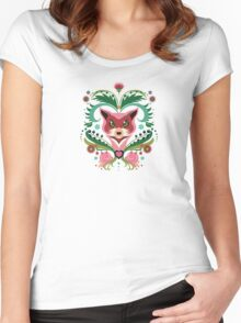 Pink FOX Portrait with Snails Women's Fitted Scoop T-Shirt