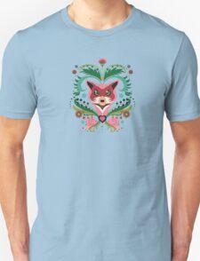 Pink FOX Portrait with Snails T-Shirt