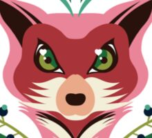 Pink FOX Portrait with Snails Sticker