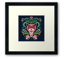 Pink FOX Portrait with Snails Framed Print
