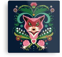 Pink FOX Portrait with Snails Metal Print