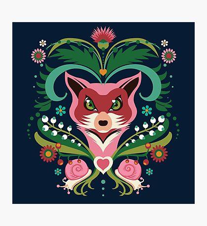 Pink FOX Portrait with Snails Photographic Print