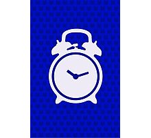 Alarm Clock and Indigo Cat Background Photographic Print