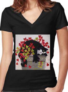 Love Pot Women's Fitted V-Neck T-Shirt