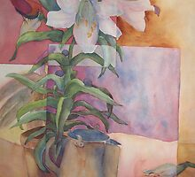 Easter Lilies and blue birds 1 by Ellen Keagy