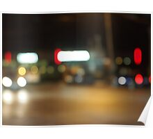 Abstract night scene on the night the traffic Poster