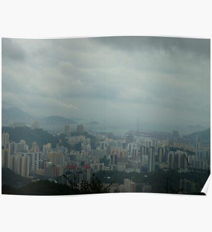 dark rainclouds threatening towering city Poster
