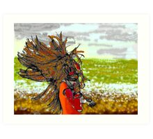 Windy day at the beach Art Print