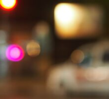 Defocused silhouette of the car and traffic lights Sticker