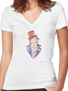 Willy Wonka And The Chocolate Factory Inspired Typography Women's Fitted V-Neck T-Shirt