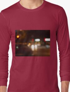 Blur and defocused lights from the headlights of cars Long Sleeve T-Shirt