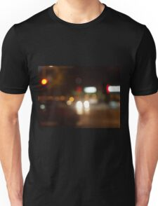 Blur and defocused lights from the headlights of cars Unisex T-Shirt